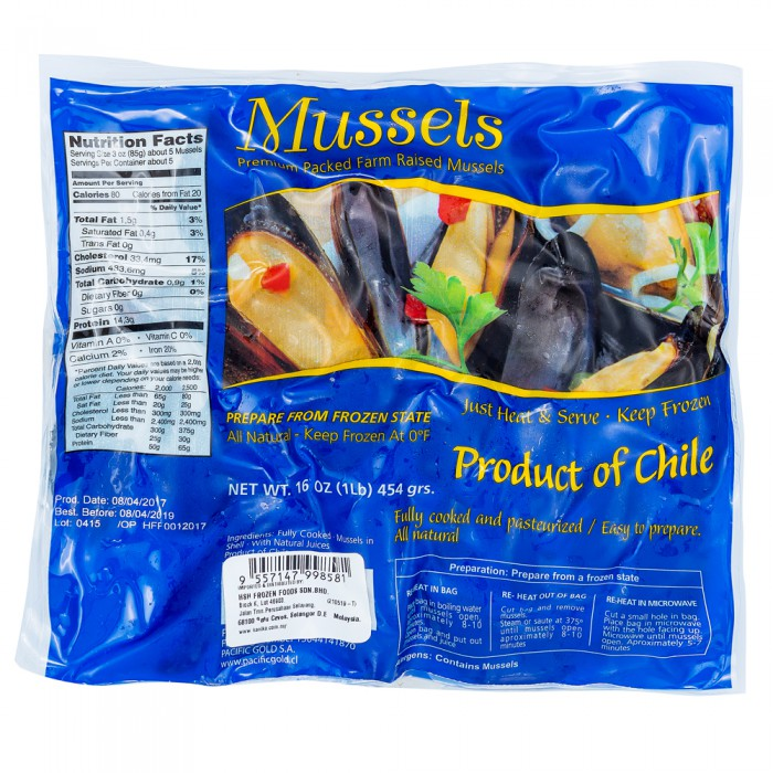 Chile Whole Shell Mussel 454gm(+-)